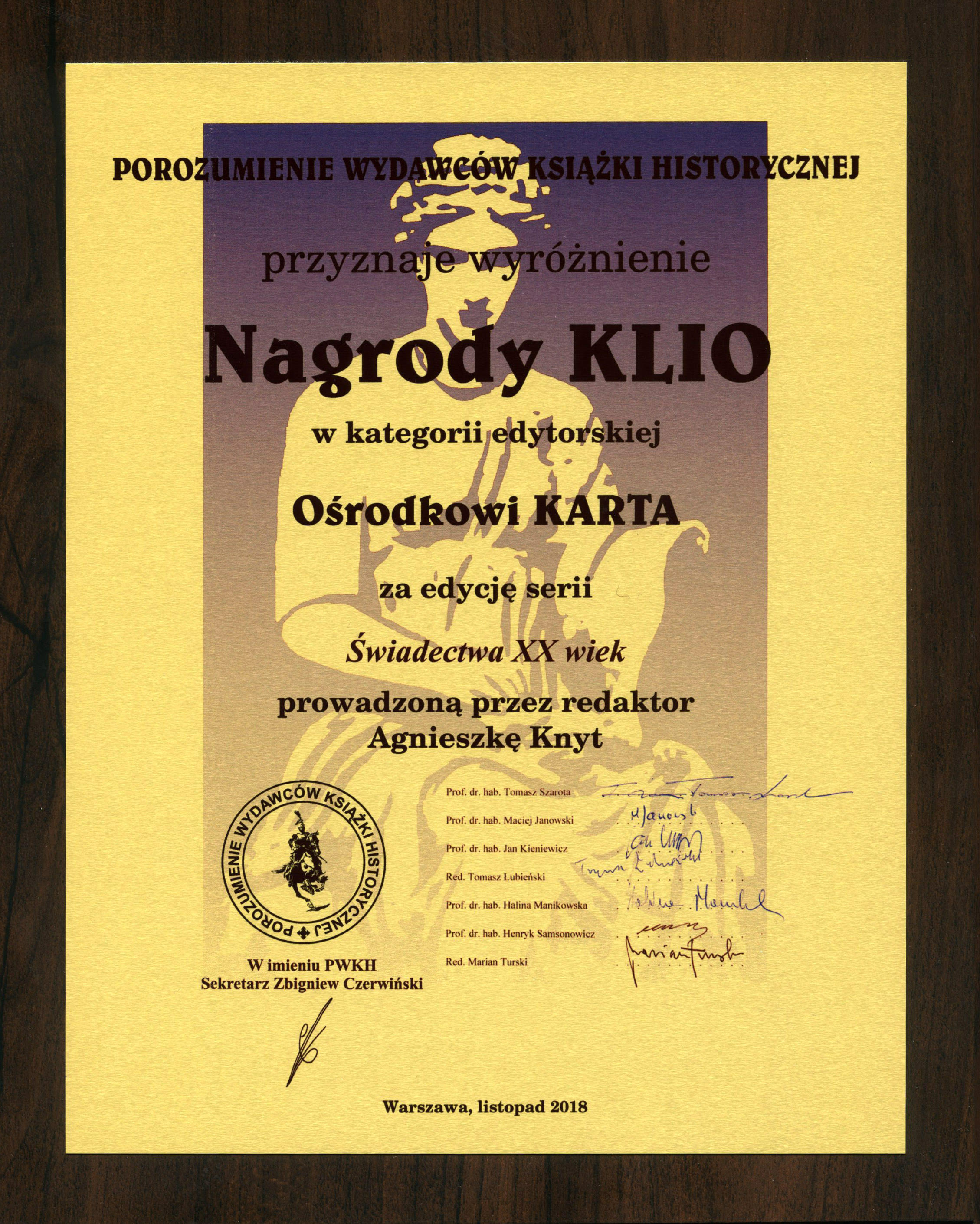 Mamy Nagrodę KLIO!